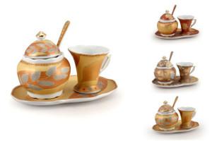 set zuccheriera con tazzina in porcellana