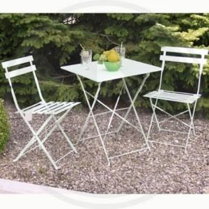 set 2 sedie e un tavolo in acciaio verniciato bianco  cm 60x60 h72