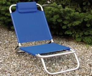 spiaggina con poggiatesta colore blu tubolare alluminio