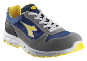 scarpa in tessuto rete e crosta scamosciata puntale in acciaio 200j inserto antiperforazione , colore grigio /blu