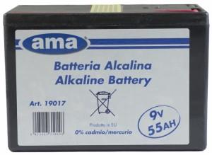 pila alcalina per recinti elettrificati 9v 55 ah. durata 5000.