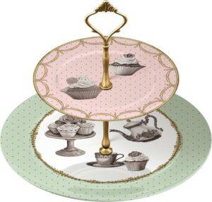 alzata in porcellana 2 piani serie cup cake.