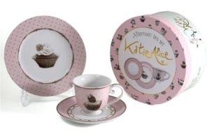 set tazza da tea con piattino serie cup cake.in porcellana.