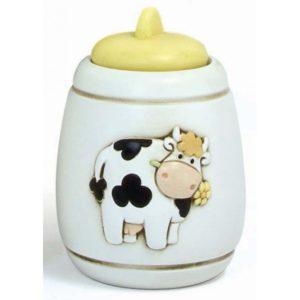 barattolo medio con coperchio in ceramica serie mucca camilla