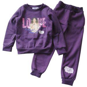 violetta tuta giacca e pantaloni in cotone felpato h.cm 122 anni 7 colore viola