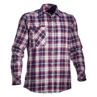 camicia in flanella a quadri,con tasca posteriore e bottoni a pressione, colori quadri blu,bianco,rosso.
