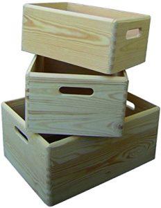set 3 cassette in legno di pino essiccato, spess.mm.10,fondo multistrato. grande 40x30x19hcm media 34x25x16hcm piccola 30x20x14hcm