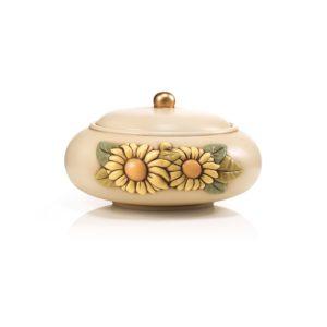 biscottiera bombata serie girasoli-in ceramica decorata a mano