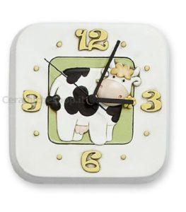 orologio a parete in ceramica dipinta a mano- serie mucca camilla-