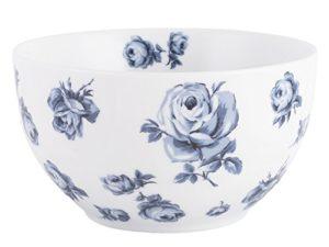 ciotola in porcellana fondo bianco con rose blu