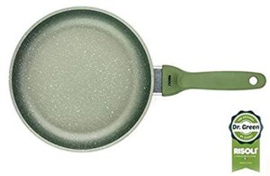 padella antiaderente con rivestimento a base acqua - manico rivestito in silicone verde