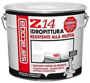 idropittura molto resistente alle muffe con elevata copertura e ottimo punto di bianco.resa 12/14mq per litro.diluizione al 35/40%.