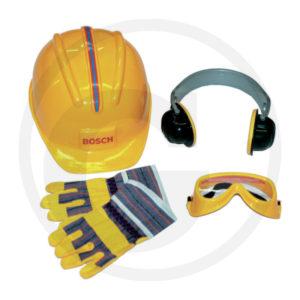 kit accessori da 4 pezzi: casco, guanti occhiali e paraorecchi.