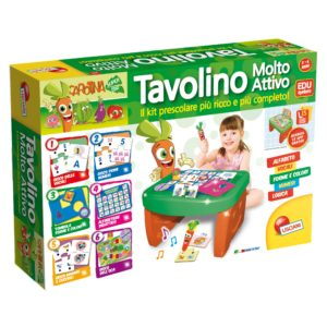 tavolino interattivo con 30 giochi. eta' da 36 mesi a 6 anni. funzina con pile 2lr44 incluse. peso kg 2