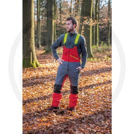 poliestere 90% elastane 10%- classe protezione 1 (20m/sec)- tessuto oxford resistente allo strappo- fessure di areazione - 2 tasche anteriori, 1 posteriore,1tasca per metro,passante,1 tasca sulla gamba.