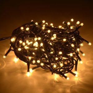 100 led per esterno/interno - luce gialla -IP44 -lunghezza cavo mt 5 -lunghezza prolunga mt 2