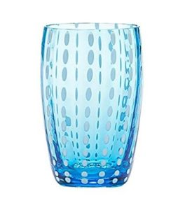 set 2 bicchieri  lavorati a mano - colore acqua marina -
