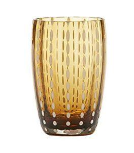 set 2 bicchieri  lavorati a mano  colore ambra