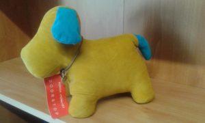 fermaporte cane - misure cm 26x14 - peso kg 1,5 - colore senape/azzurro -