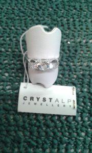 anello trilogy con tre cristalli swarosky - diametro mm 18 - nikel free-
