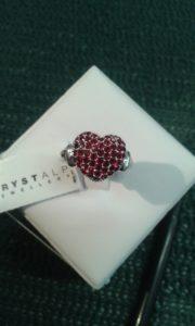 anello con cuore di cristalli swarosky rossi - diametro mm 19 - nikel free -
