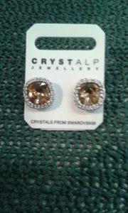 coppia orecchini - con cristalli swarosky ambra e trasparenti - nikel free - made in austria -