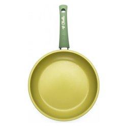 padella a 1 manico - rivestimento con olio d'oliva - diametro cm 24 - manico rivestito in silicone - idonea anche per induzione - made in italy -
