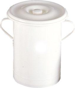 vaso comodo - con due manici e coperchio - uso sanitario - colore bianco - polipropilene -