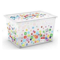 baule box - cm 55 x 38 x30h in plastica con coperchio - decorato -
