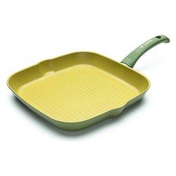 bistecchiera 1 manico - rivestimento all'olio d'oliva - diametro cm 28x28 h cm 2 - manico rivestito in silicone -