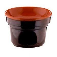 fornellino in terracotta - rivestimento in ceramico - colore marrone esterno e naturale interno - verniciatura senza piombo certificata - adatto per cottura in forno e su fiamma a gas -