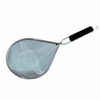 colino scolatutto ovale - cm 22x18 inox - con manico in plastica con gancio per appenderlo.