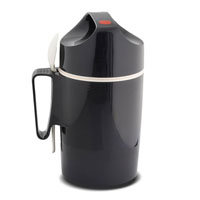 portavivande termico da litri 0.90- con cucchiaio in plastica - inserendo un liquido a 100 gradi dopo 24 ore il produttore garantisce 45 gradi. colore grigio -