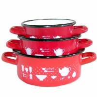 set 3 casseruole in smalto - diametro cm 12/14/16 - interno smalto bianco -esterno rosso decorato - bordo colore antracite -
