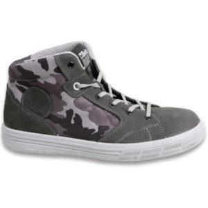 scarpe antinfortunistica  scamosciate con inserti in tessuto camoufage - puntale in alluminio trasperante,resistenza 200 joule - suola antiperforazione -