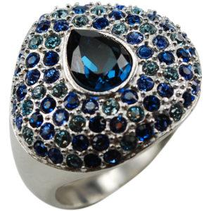 anello rodiato con cristalli swarosky azzzurri - diam.17 mm