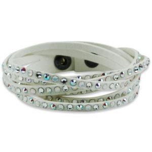 braccialetto in pelle bianca con cristalli swarosky - made in austria -