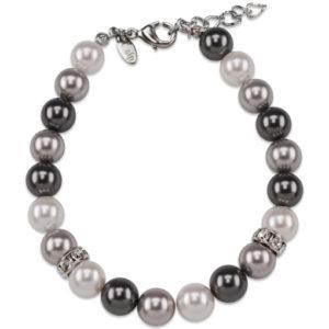 braccialetto con perle grigie e cristalli swarosky - made in austria -