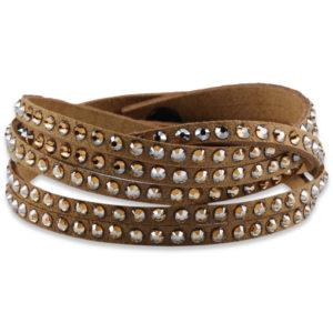 braccialetto in pelle tortora con cristalli swarosky - made in austria -