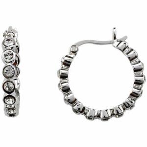 orecchini a cerchio con cristalli swarosky - rodiati- nikel free - made in austria -