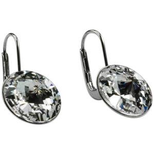 orecchini pendenti rodiati - con cristalli swarosky mm.12 - made in austria -