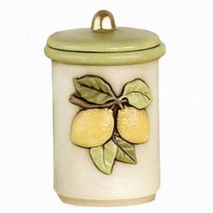 barattolo in ceramica decorata a mano - taglia media - altezza circa cm 15 -