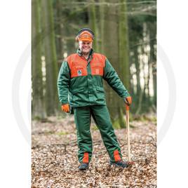 pantaloni antitaglio classe 1 - a norma EN381 - 3 tasche laterali - 1 tasca per metro - materiale idrorepellente - resistente allo sporco - tessuto misto cotone - colore verde - arancione -
