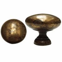 pomolo in ottone liscio - finitura antica - diametro mm.32 - altezza mm.25 - adatto per mobili e cassetti - filetto 4 MA -