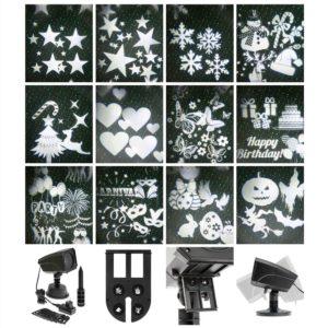 proiettore led per esterno ed interno. con 12 soggetti assortiti: natale - pasqua - halloween - party - compleanno - 12V -