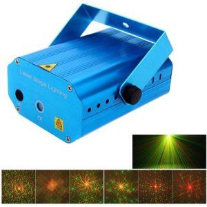 proiettore laser a led per interni - 4 giochi di luce - 5w - AC110V - proiezione 10 mt - verde e rosso - 52x92x130 mm -