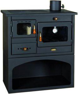 stufa con struttura e top in acciaio- focolare refrattario - forno in ghisa - tubo diam.13 cm 89 kg. L75cm P45cmH80cm colore antracite-