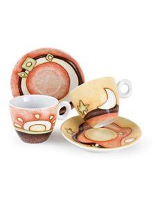 set. 6 tazze cappuccio - in porcellana - decorato -