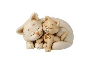 gatti che dormono - in ceramica dipinta a mano - cm 16 x 9.5 - cod GA18MP/30