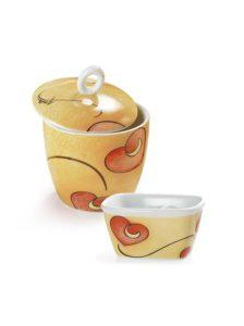 zuccheriera + 1 vaschetta - in porcellana - decoro cuore - giallo -